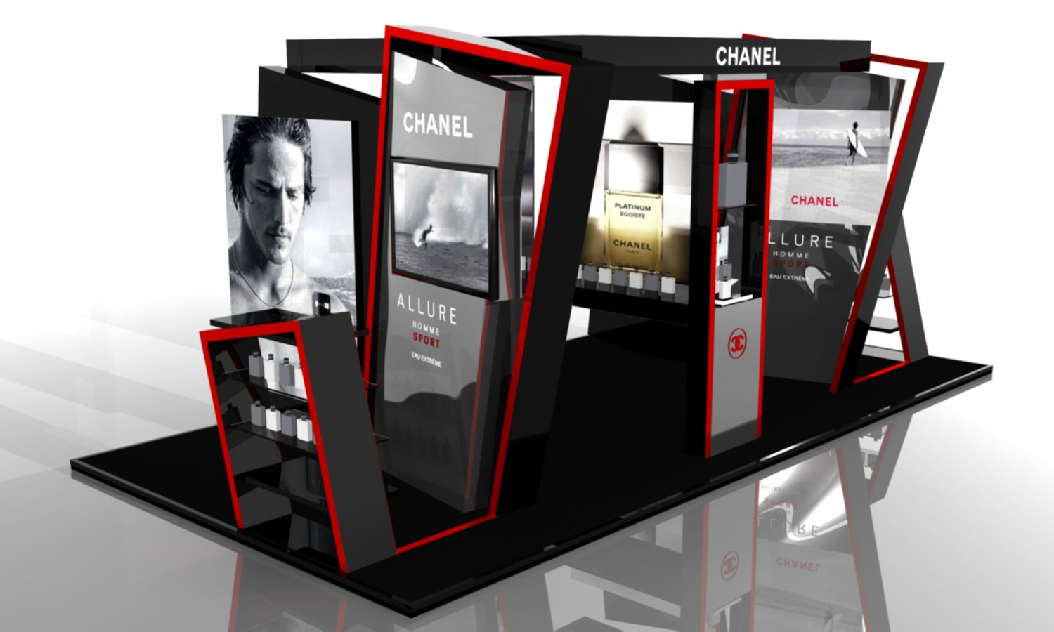 Exhibition Stand 3d Model : Exhibition stand chanel 3d model in entertainment center 3dexport