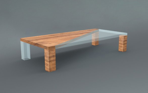 Wooden Glass Table 3D Model