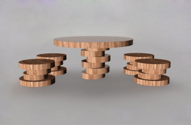 Wooden table with chairs 3D Model