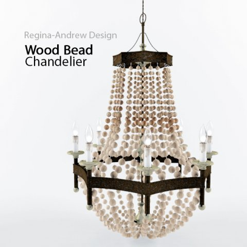 Regina Andrew Lighting Wood Bead Chandelier 3D Model