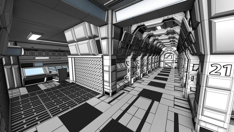 Sci Fi Corridor 3D Model in Fantasy Spacecraft 3DExport