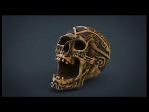 Human Head Skull with Ancient Tribal Tattoo