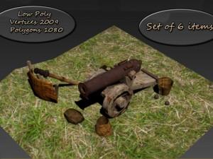 Low Poly set gun crew cannons