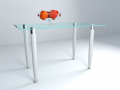 Glass table with apples
