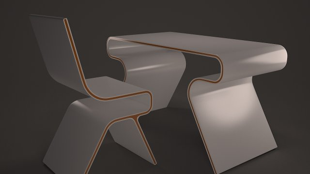 Table and chair design 3D Model