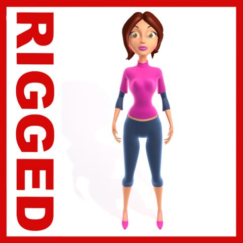 Woman Cartoon Rigged 3D Model