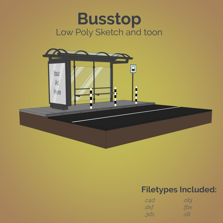 Busstop 3D Model in Bus 3DExport