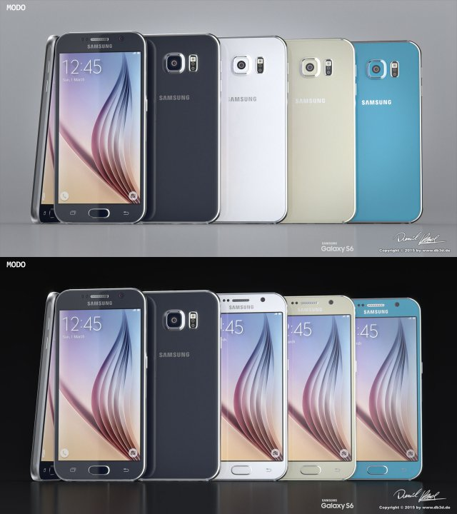 Samsung Galaxy S6 All Colors Modo Octane 3D Model