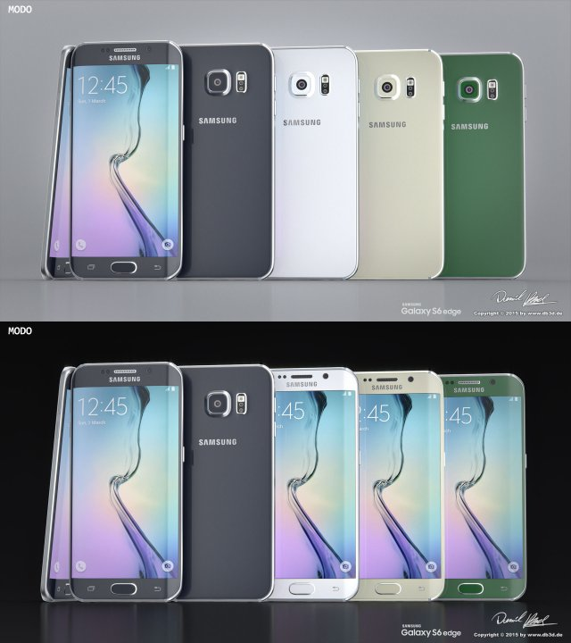 Samsung Galaxy S6 Edge All Colors Modo Octane 3D Model