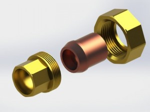 Union copper fitting for 3-4 copper pipe