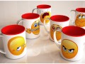 Set of 6 emotive coffee cups