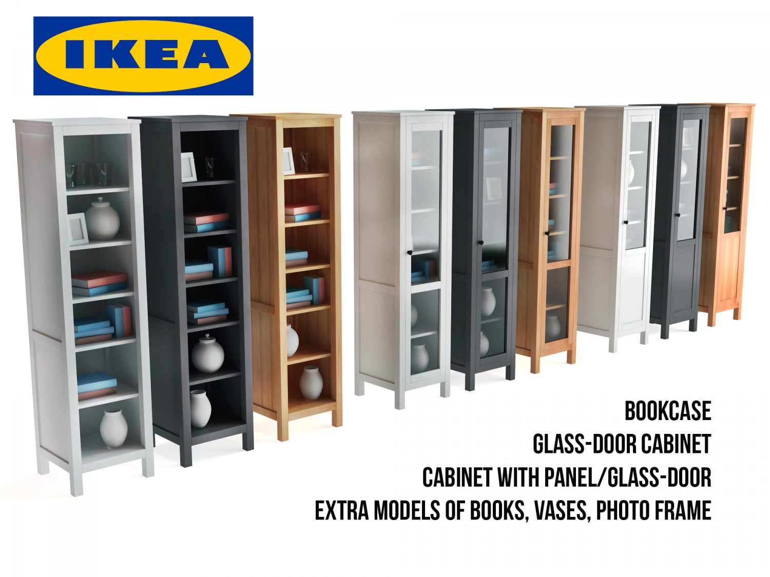 ikea hemnes bookcase and glass door cabinet 3d model in household