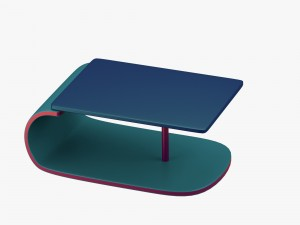Modern table in greenblue with addition of red
