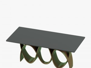 Modern table with curved metallic legs