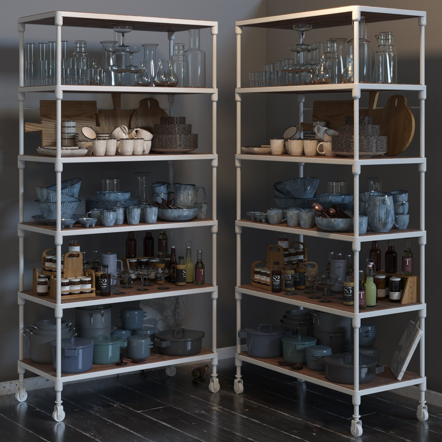Rh Dutch Industrial Single Shelving And Kitchen Set 3d Modell In