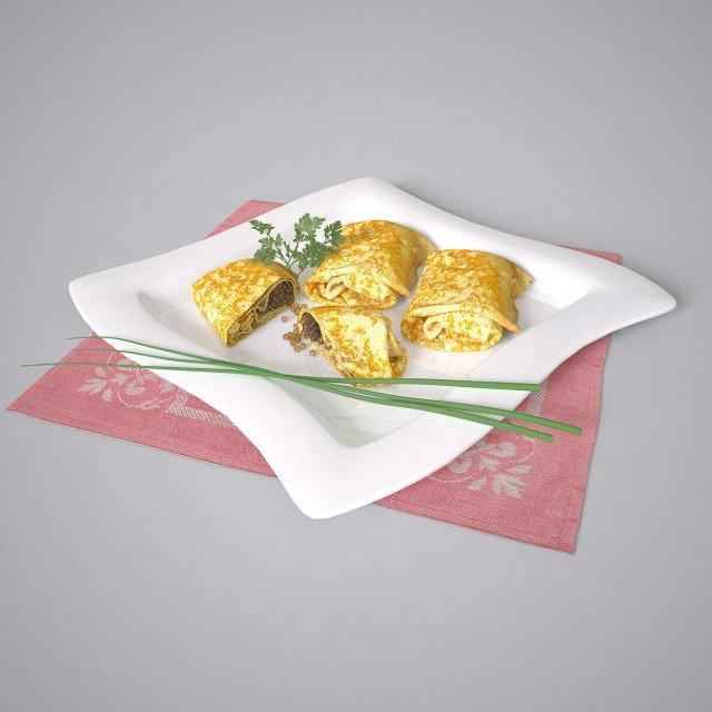 Plate of pancakes 3D Model