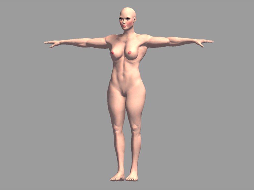 nude muscular female 3d model in woman 3dexport