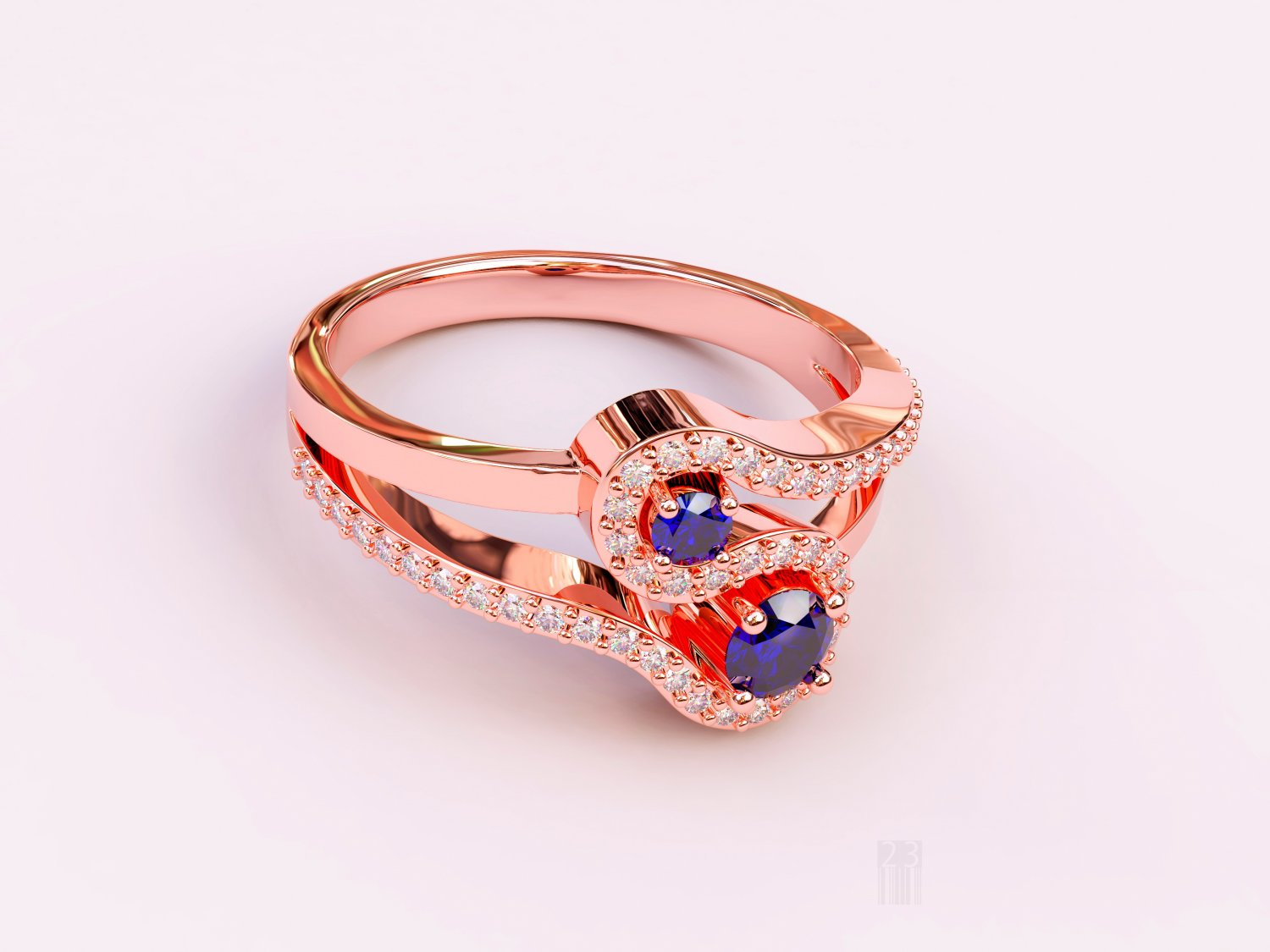 Diamond and sapphire ring 3D Model in Rings 3DExport