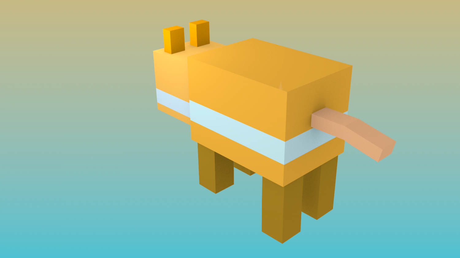 hamster pixel and blocky minecraft rigged free 3d model in other