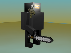 Blocky and pixel ninja rig with blocky weapons