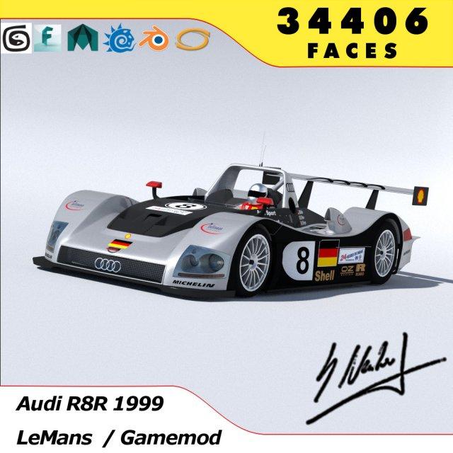 Audi R8R 1999 - LeMans Gamemodel 3D Model
