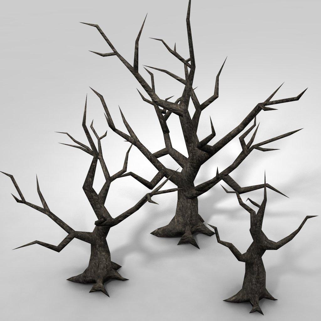 low poly spooky tree 3d model in tree 3dexport
