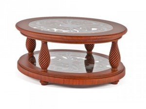 Classic oval coffee table glass top