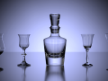 Set of Alcohol Glasses with Bottle