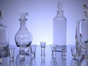 Set of Glasses and Bottles for Alcoholic Beverage