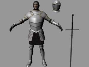 Medieval Knight-Armor with Two-handed Sword