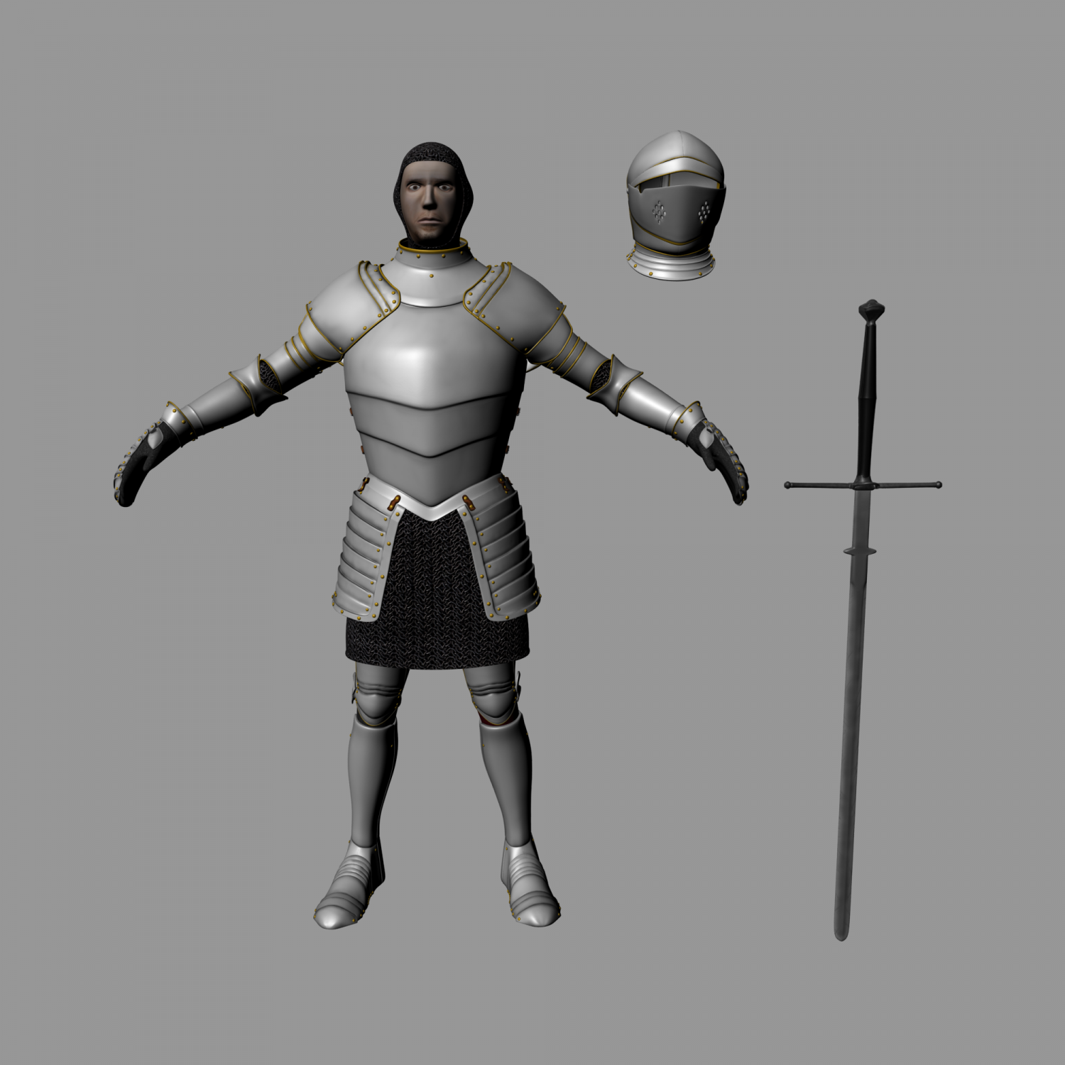 Medieval Knight-Armor with Two-handed Sword 3D Model in Man 3DExport