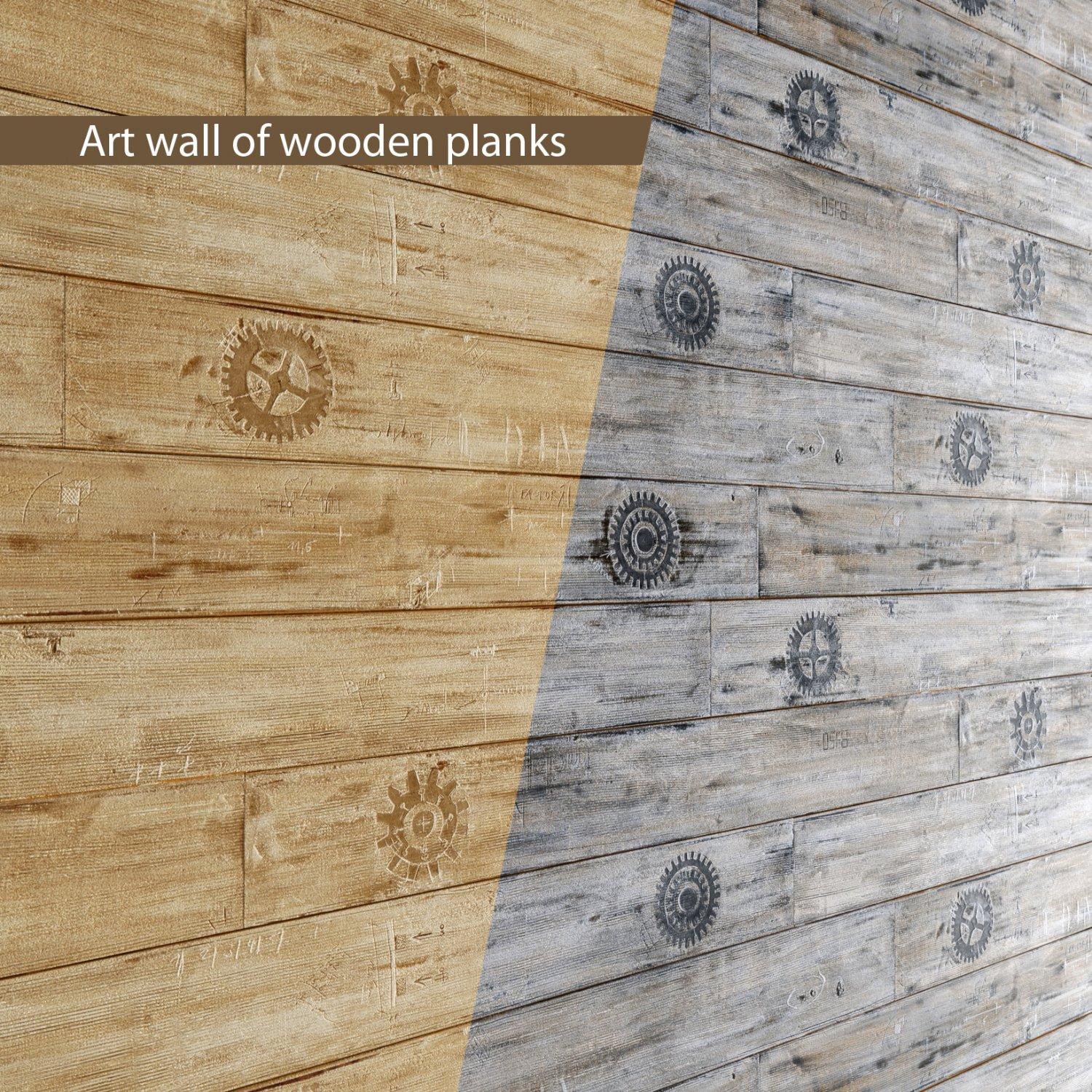 Art wall of wooden planks 3D 3D Model in Decoration 3DExport