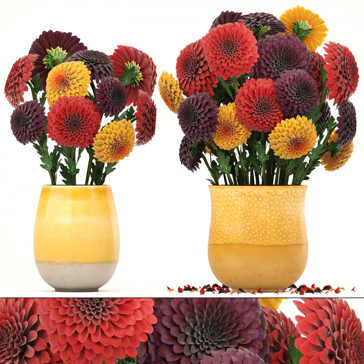 Bouquet of flowers dahlias 3d model in iekler 3dexport izmirmasajfo