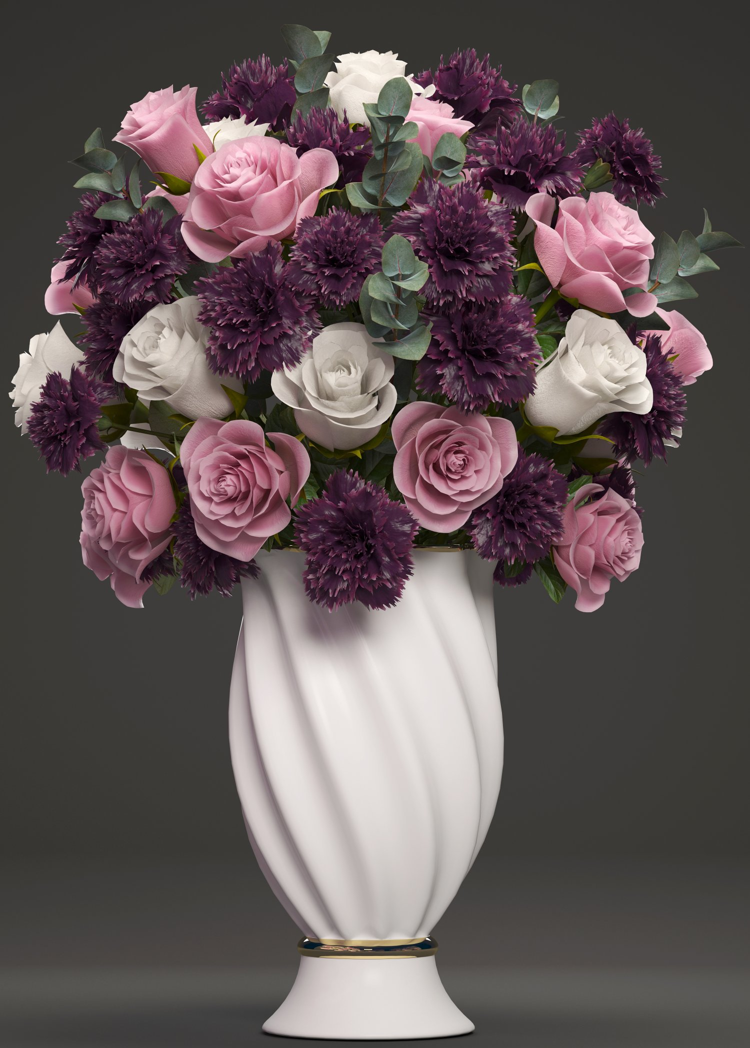 Bouquet Of Flowers In A Vase 3d Model In Flowers 3dexport