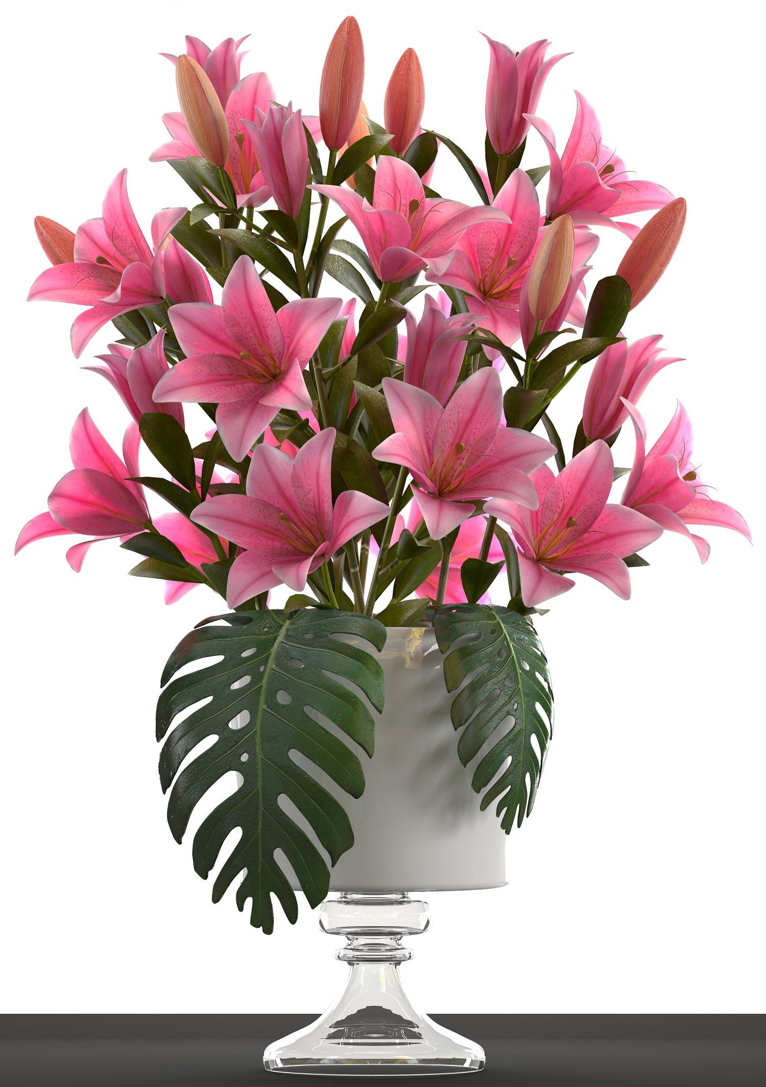 Bouquet of pink lilies 3d model in flowers 3dexport bouquet of pink lilies 3d model izmirmasajfo