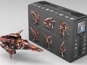 10 Drone Pack Red Manga