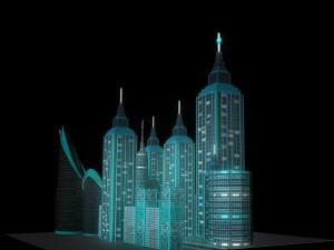 Sci-Fi Gaming City Cityscape 3D Model