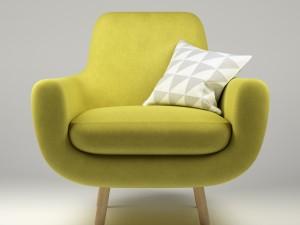 Armchair Jonah yellow with pillow