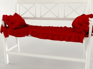 Banquette white-red