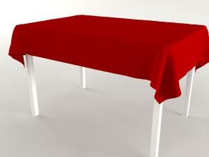 Kitchen table white-red