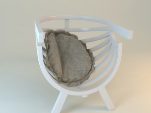 White Round chair with cushion