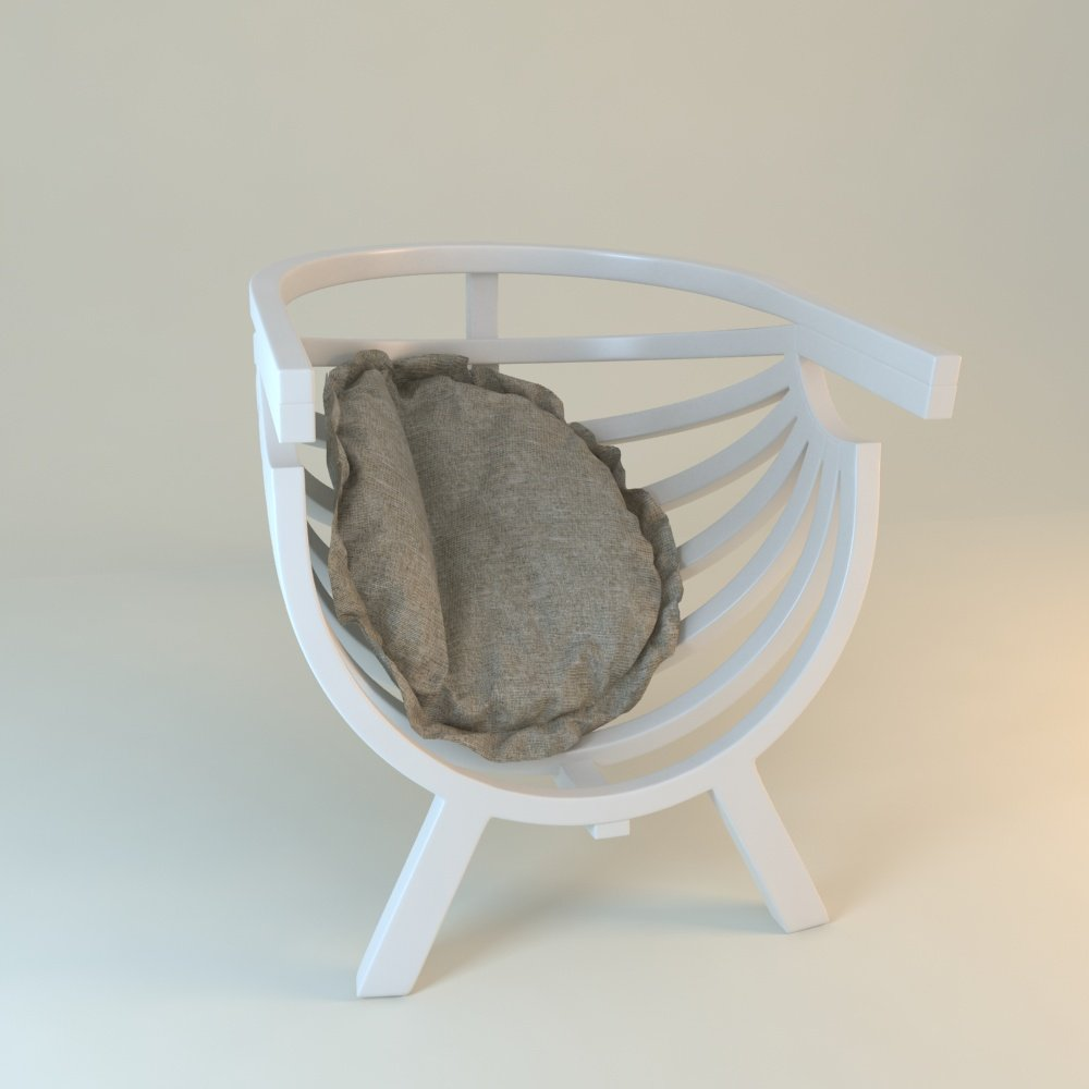 White Round Chair With Cushion 3D Model