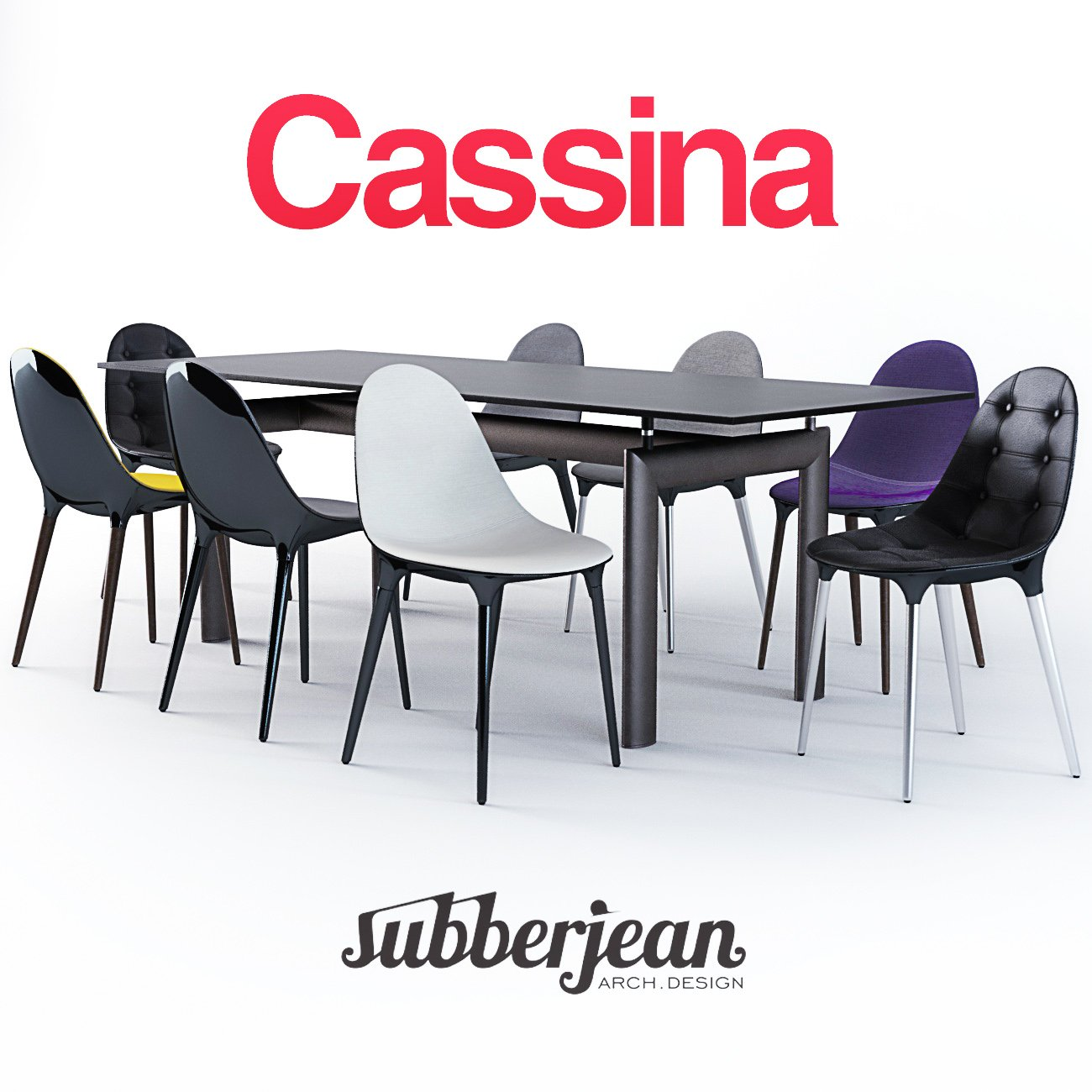 Cassina Caprice Chairs LC6 Table 3D Model