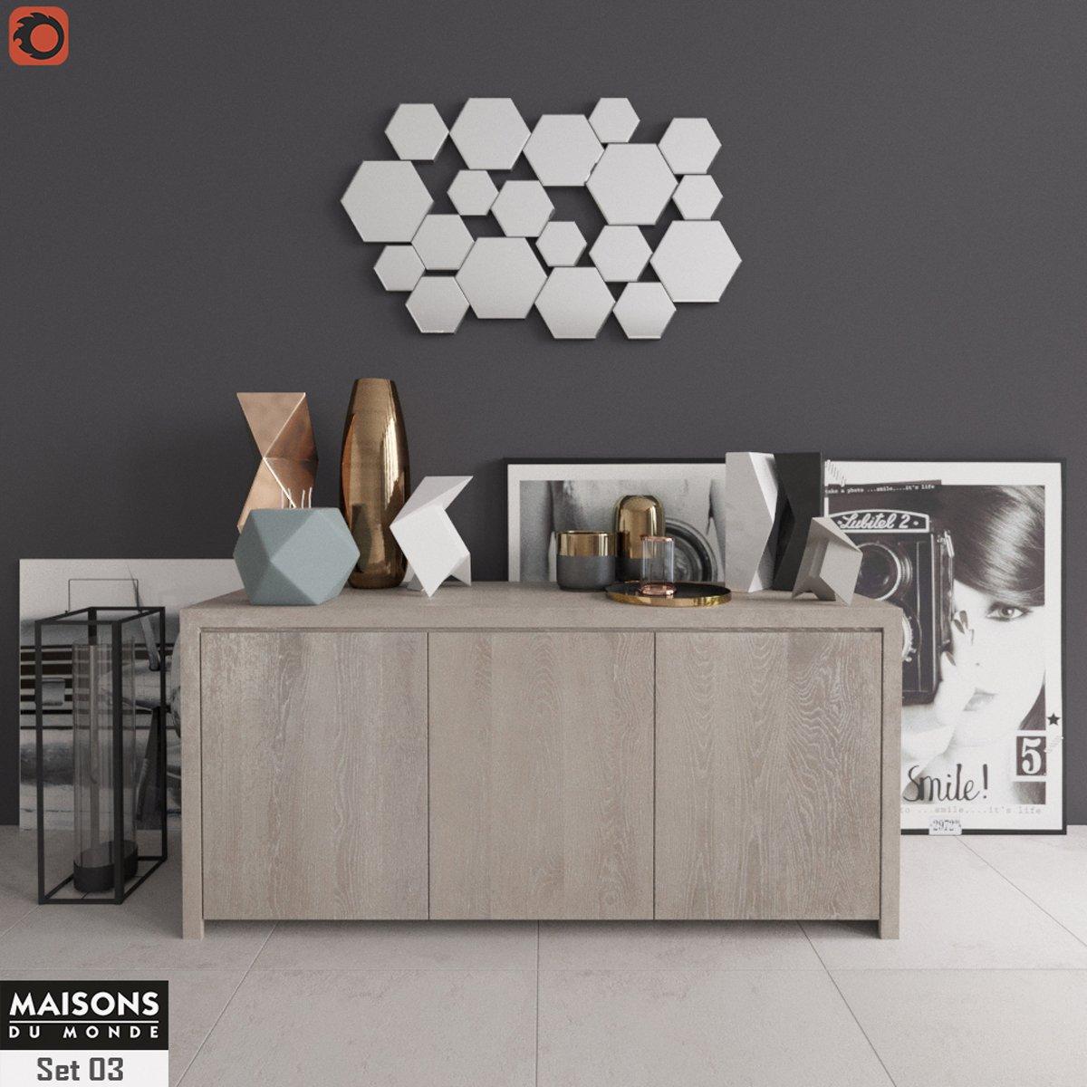 Buffet with decor Maisons du Monde Set 03 3D-Modell in Wohnzimmer 3DExport