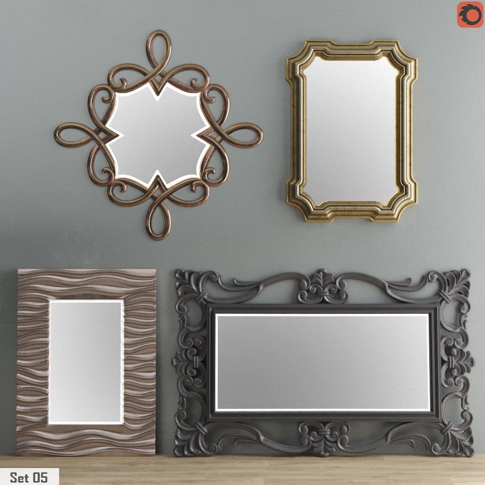 mirror collection set 05 3d model in living room 3dexport