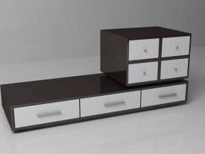 Black and white drawers