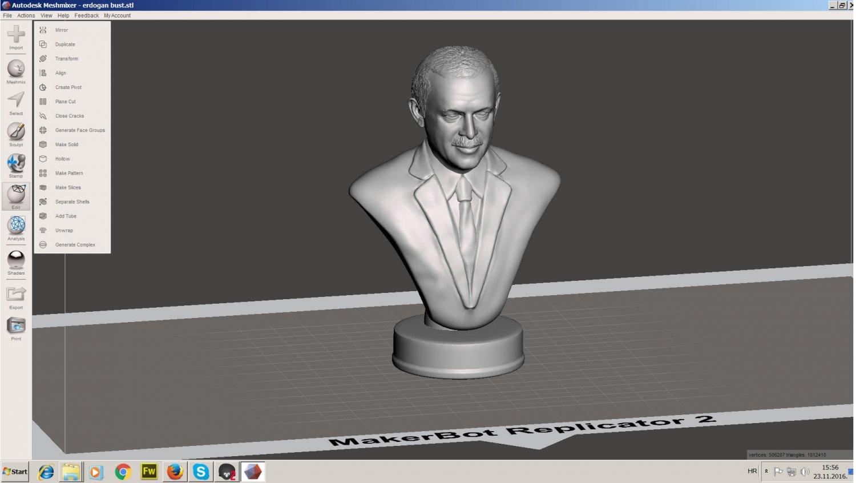 Recep Tayyip Erdogan 3D-Modell in Skulptur 3DExport
