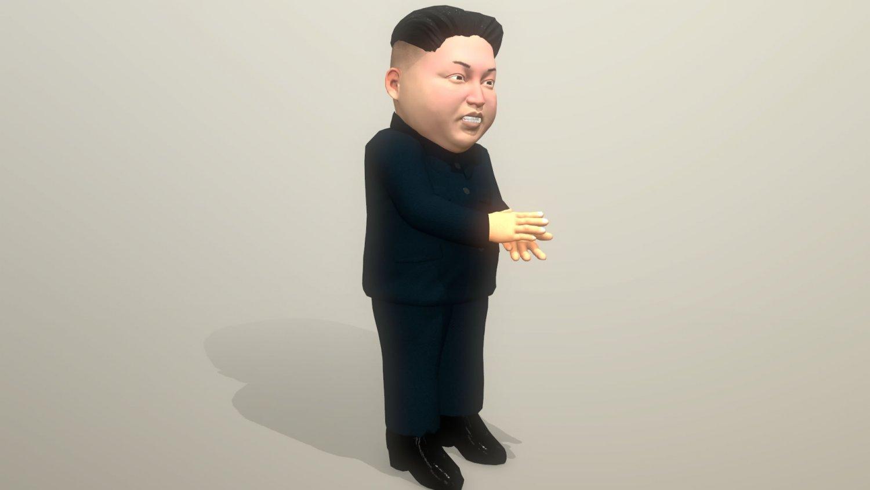 Kim Jong Un caricature low poly animated 3D Model in Man 3DExport