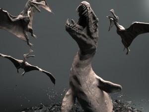 Mosasaurs VS Ornithoheirus High Poly Scene