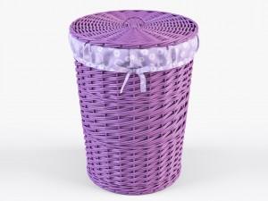 Wicker Laundry Basket 03 Purple Color